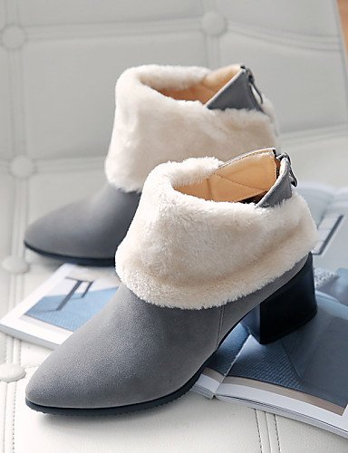 5 us10 Vellón Zapatos Robusto Eu42 Gray La Vestido Xzz Tacón Black Cn43 C 5 Uk8 De Amarillo Gris 5 Moda us10 Mujer Puntiagudos Botas Casual A Negro 7wwpxFd