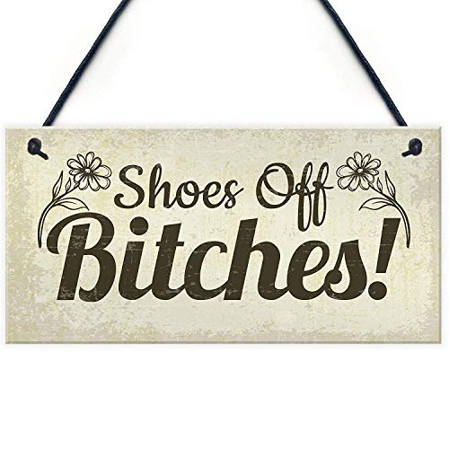 Meijiafei Funny Take Your Shoes Off Sign Welcome Hanging Plaque House Porch Shabby Chic Decor Gifts 10