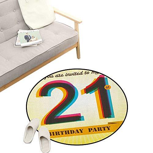 Kit Elegance Invitation (21st Birthday Custom Round Carpet ,Invitation to an Amazing Birthday Party on a Golden Colored Backdrop Image, The Custom Round Non-Slip Doormat 31