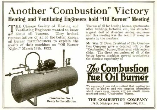 (1922 Advertisement for The Combustion Fuel Oil Burner Company Original Paper Ephemera Authentic Vintage Print Magazine Ad/Article)