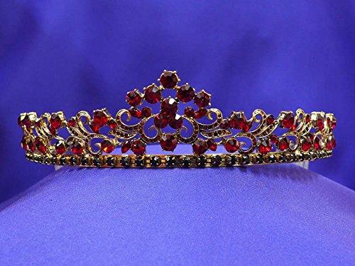 Antique Vintage Gold Red Ruby Rhinestone Crystal Tiara Crown AT13]()