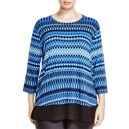 karen-kane-womens-plus-sheer-hem-3-4-sleeve-blouse-blue-2x