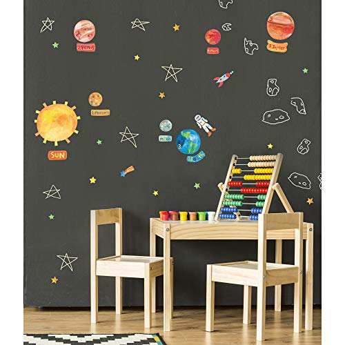 Wallies Vinyl Wall Decals, Educational Solar System Stickers for Kid's Bedrooms, Playrooms and Classrooms, 45 Pc ()