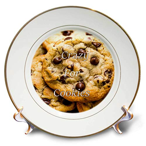 3dRose Lens Art by Florene - Crazy for Different Food - Image of Macro of Chocolate Chip Cookies with Crazy for Cookies - 8 inch Porcelain Plate (cp_309991_1) (Novelty Commemorative)