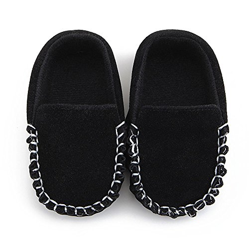 Fire Frog Baby Boat Loafer Shoes - Zapatos primeros pasos para niño negro