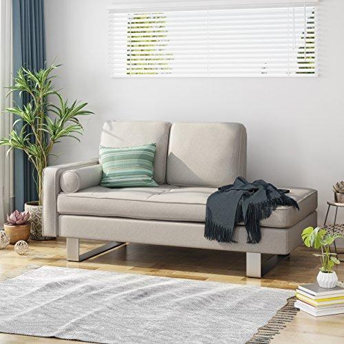 Phelps Modern Fabric Chaise Loveseat, Beige (Modern Fabric Chaise)