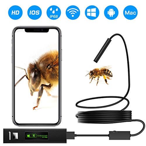 Wireless Endoscope, Mascarry WiFi Borescope Inspection Camera HD Snake Camera for Android and IOS Smartphone, iPhone, Samsung, Tablet - Black(11.5FT)