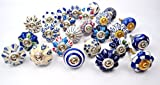 #7: Set of 25 Blue and white hand painted ceramic pumpkin knobs cabinet drawer handles pulls