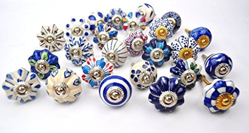 Set of 25 Blue and white hand painted ceramic pumpkin knobs cabinet drawer handles pulls - Porcelain Handle Pull