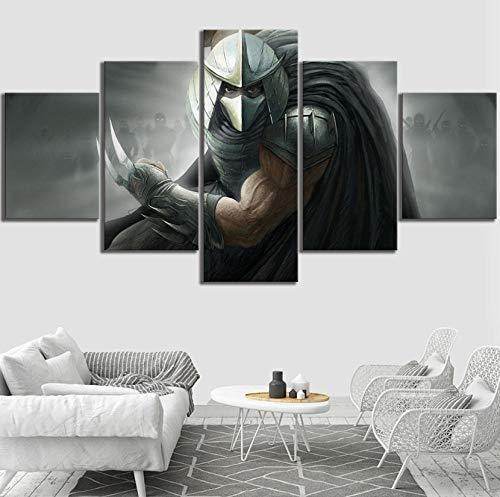 yisanwu 5 Piece Teenage Mutant Ninja Turtles Shredder Artwork Video Game Poster Canvas Art Wall Painting for Living Room Decor 30X40Cmx2 30X60Cmx2 30X80Cmx1 Frameless -