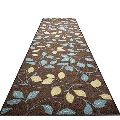 Custom Cut 31-inch Wide by 20-feet Long Runner, Brown Floral Non Slip, Non-Skid, Rubber Backed Stair, Hallway, Kitchen, Carpet Runner Rug - Choose Your Width by Length