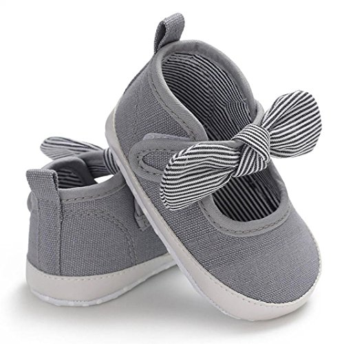 WOCACHI Baby Girls Shoes Toddler Infant Kids Girl Bowknot Soft Sole Crib Newborn Shoes Back to School Clearacne Sale Deal Grey