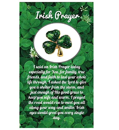 Biblebanz Irish Prayer Glitter Metal Shamrock Pin On Card (10 -