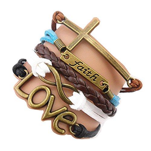 - Ac Union ACUNIONTM Handmade Infinity Cross Faith Love Charm Friendship Gift Fashion Jewelry Personalized Leather Bracelet
