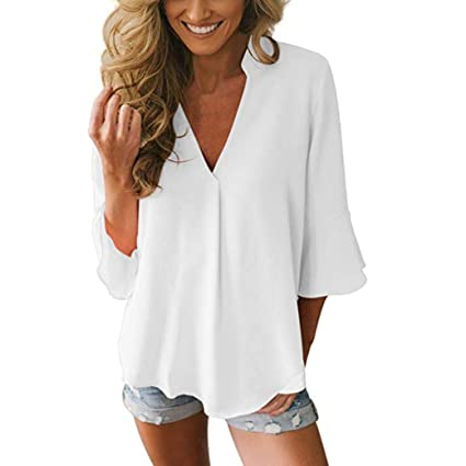 8059b77a7d0 Image Unavailable. Image not available for. Color  KFSO Womens Casual Loose  Solid V Neck Peplum Bell Sleeve Chiffon Blouse ...