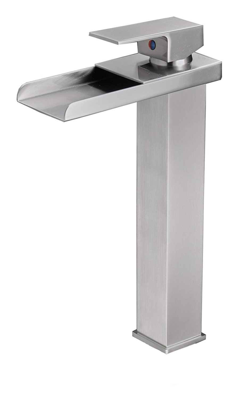 BWE Tall Nickel Brushed Waterfall Bathroom Sink Vessel faucet Open Channel Basin Mixer Tap Long Bath Spout