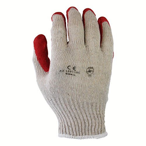 Azusa Safety L22110C Safety Gloves, Poly/Cotton, Large, White/Red (Pack of 12 Pairs)