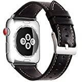 Electronics : Mkeke Compatible with Apple Watch Band 42mm 44mm Genuine Leather Apple Watch Series 3 Series 2 Series 1 42mm 44mm Bands,Black