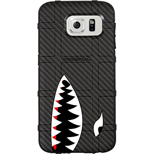 EGO Tactical Limited Edition Design UV-Printed onto a MAG780 Field Case Compatible with Samsung Galaxy S7 (Not for Edge or Active) Black Carbon Fiber, Shark Teeth ()