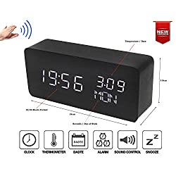 White LED Wood Grain Timber Digital Alarm Clock 3 Display Modes 12/24 Time Hour/Min/Sec Day/Week Date/Month Temperature(°C) Thermometer Voice Control Power by 4xAAA Battery or USB Charger (White LED)