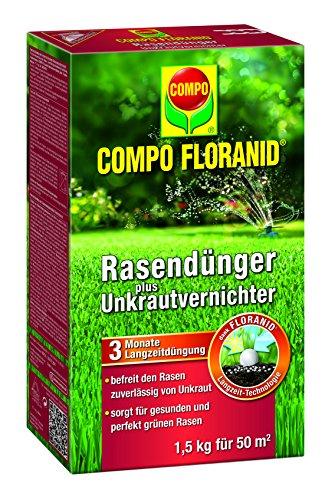 Compo Rasenpflege Floranid dünger plus Unkrautvernichter 1,5 kg für 50 m², grün