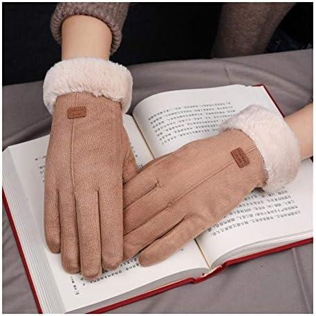 BTXXYJP 手袋女性ノンスリップ冬の手袋厚く暖かいタッチスクリーン自転車アウトドアグローブ (Color : グレー, Size : One Size)