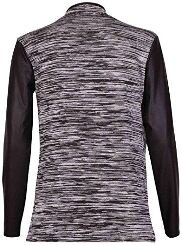 Chaqueta de abrigo para mujer, manga larga, elástico, aspecto mojado mangas de PVC PU TRIM, abierto gris
