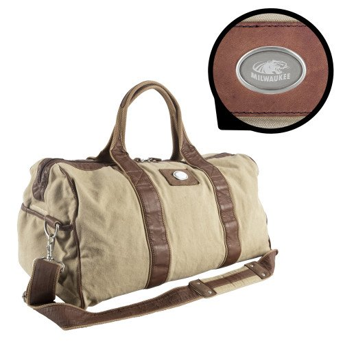 Wisconsin Milwaukee Canyon Mason Canvas Duffel 'Official Logo Engraved' by CollegeFanGear