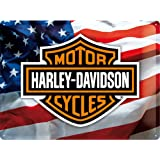 Grande plaque métal Harley Davidson Drapeau USA