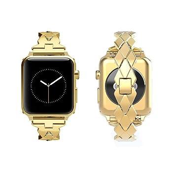 TINERS Compatible Apple Watch Band Metal Reloj Inteligente Correa Deportiva 3/2/1 Serie De Generación Hombre O Mujer Acero Inoxidable Correa Metálica Oro ...
