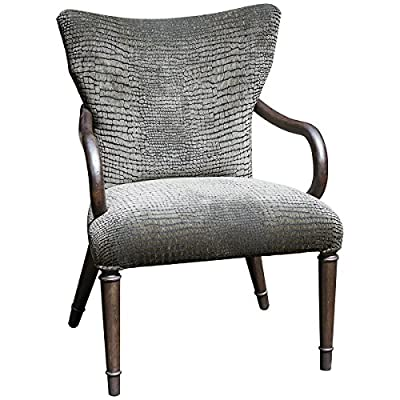 Uttermost Lagan Reptile Pattern Accent Chair - Elegant, paris silver finish showcasing mango wood grain brought out with a hint of metallic pewter Mango Wood with Foam; Fabric construction Lagan collection - living-room-furniture, living-room, accent-chairs - 518VhuzhWqL. SS400  -