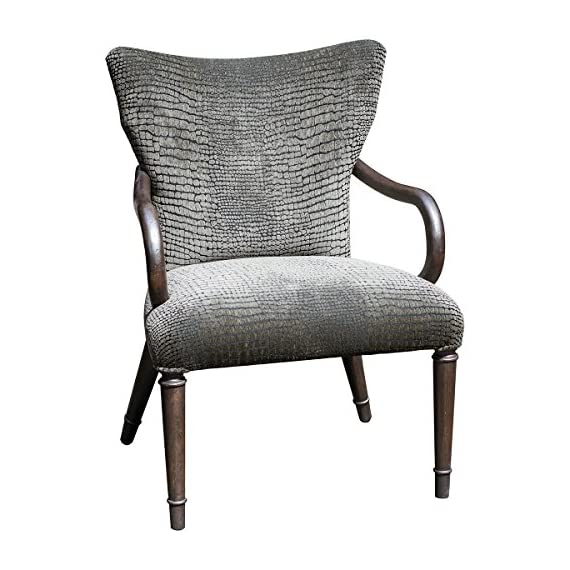 Uttermost Lagan Reptile Pattern Accent Chair - Elegant, paris silver finish showcasing mango wood grain brought out with a hint of metallic pewter Mango Wood with Foam; Fabric construction Lagan collection - living-room-furniture, living-room, accent-chairs - 518VhuzhWqL. SS570  -