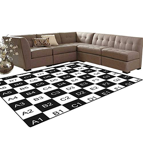 - Checkers Game Bath Mats Carpet Monochrome Chess Board Design with Tile Coordinates Mosaic Square Pattern Girls Rooms Kids Rooms Nursery Decor Mats 5'x8' Black White