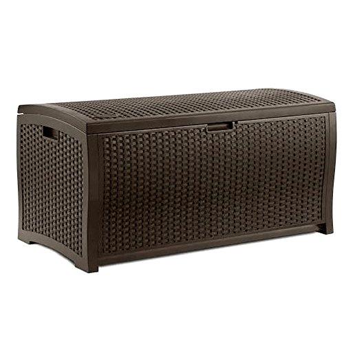 Amazon Com 4ft Storage Bench 73 Gallon Patio Resin Rattan Lidded Storage Box Mocha Brown Large