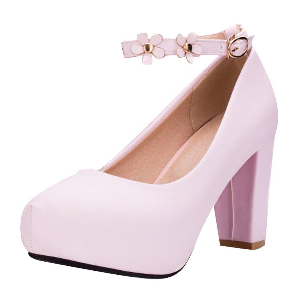 YE Damen Ankle Strap Pumps Blockabsatz Plateau High Heels Geschlossen mit Riemchen und Blumen Elegant Schuhe  35 EU|Rosa
