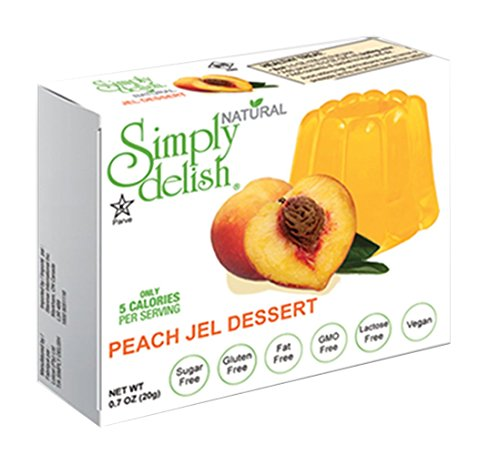 Simply delish Natural Peach Jel Dessert, Sugar free, 0.7 oz., 24-6 packs – Fat Free, Gluten Free, Lactose Free, Non GMO, Kosher, Halal, Dairy Free, Natural by Simply Delish