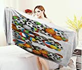 Anniutwo Letter E,Baby Bath Towel,ABC Sports Concept Different Gaming Balls First Name Initial Monogram Design,Print Wrap Towels,Multicolor Size: W 10'' x L 39.5''