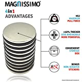 """Magnissimo! Neodymium Magnets N52 [10 pcs] Earth Magnets Disc 1.26""""D x 0.1""""H Perfect for DIY, Arts & Crafts, Misti, Home, School, Science and Office Projects. Extra Strong Magnets"""