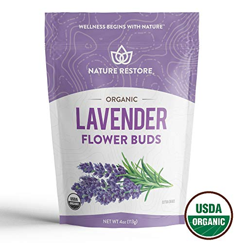 USDA Certified Organic Dried Lavender Flowers, Loose Leaf, Extra Grade, 4 Ounces