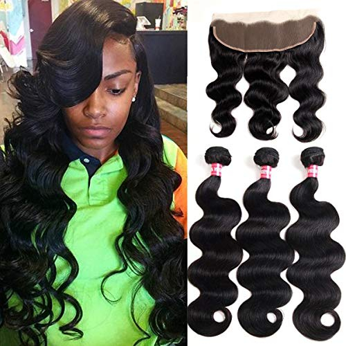 WENYU Brazilian Virgin Body Wave 3 Bundles with Frontal Closure100% Virgin Body Wave Human Hair Weave Weft Extensions with 13 x 4 Lace Frontal Natural Color(14 16 -