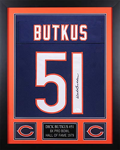Dick Butkus Autographed Signed & Framed Blue Chicago Bears Jersey Memorabilia - JSA ()