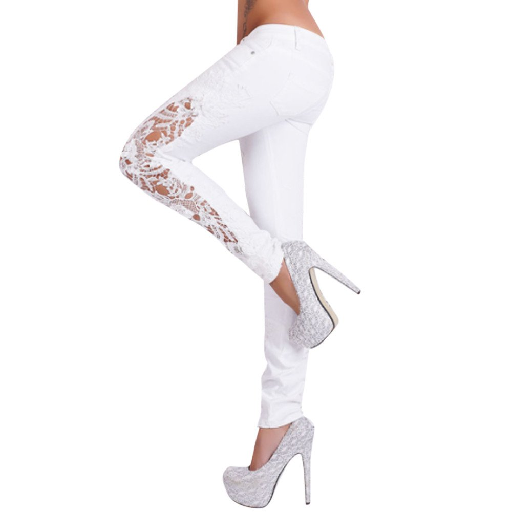UONQD Women Jeans Pants Casual Flower Lace Insert Low Waist Hollow Out Long (Small,White)