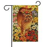 Cheap ALAZA Welcome Orange Cats Poppy Flowers House Flag Garden Banner 28″ x 40″ Double Sided, Spring Summer Flowers Cat Kitty Kitten Garden Flags for Anniversary Yard Outdoor Decoration
