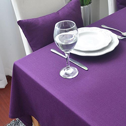 MeMoreCool Top Grade Pure Color Rectangular Table Cloth European Style Dining-table Cloth Pure Cotton Cover Cloth Elegant Purple (48' Roll Display)