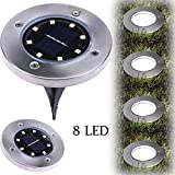 Solar Powered Ground Lights, KEERADS 1PC 8 LED Solar Path Lights Outdoor Waterproof Garden Landscape Spike Lighting for Yard Driveway Lawn Pathway Walkway Disk Lights (8LED, Warm White)