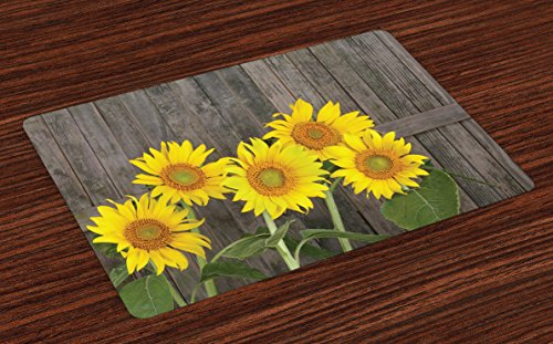Ambesonne Sunflower Place Mats Set of 4, Helianthus Sunflowers Against Weathered Aged Fence Summer Garden Photo, Washable Fabric Placemats for Dining Table, Standard Size, Brown Yellow (Summer Placemats)
