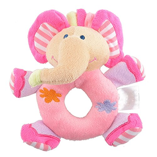 - Yamalans Baby Infant Kids Gifts Cute Soft Pink Elephant Plush Rattle Educational Toys