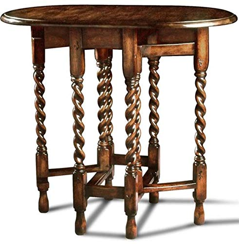 Twist Barley Carved - Scarborough House Gateleg Table Small Handcrafted Distressed Wood Twist Legs