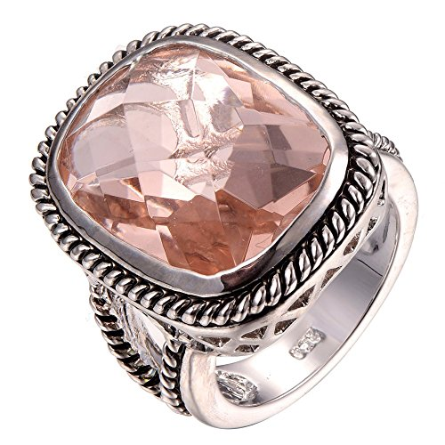 Huge Morganite 925 Sterling Silver Filled Ring Size R 1/2