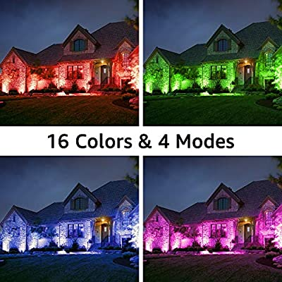 Olafus 2 Pack 35W RGB LED Flood Light Outdoor, Dimmable Color Changing Floodlight Fixture with Remote, IP66 Waterproof Wall Wash Light, 16 Colors 4 Modes, Exterior Up Lighting for Party, Indoor Decor